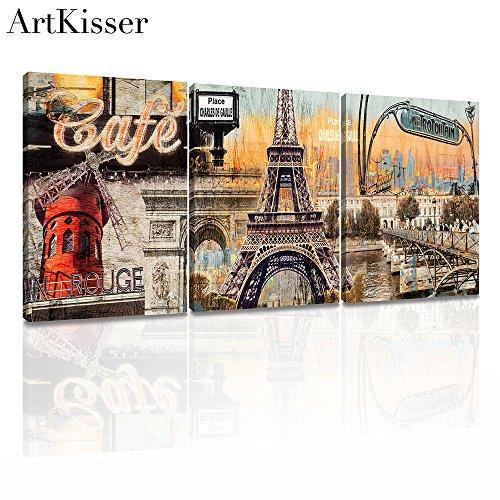 ArtKisser Modern Wall Art Vintage Paris Eiffel Towel Decor Ancient City Paintings Poster Prints on Canvas for Living Room 12x16inch Ready to (Paris Antique Print)