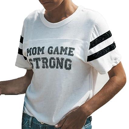 LILICAT® Camisas de mezcla de algodón de mujer, blusa de patchwork de letras impresas