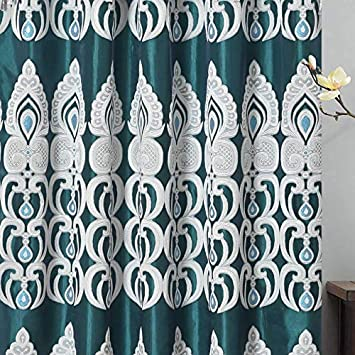Peacock Pride. Clipped Voile. Voile Jacquard Window Curtain Panel Drape with Attached Fancy Valance and Taffeta Backing. 2pcs Set. Each pc 54 inch Wide x 84 inch Drop 18 inch Valance. Teal Green