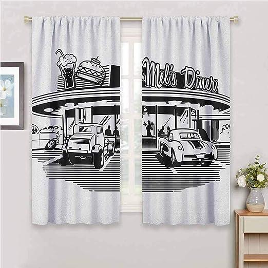 Amazon Com Jinguizi Retro Light Curtain Nostalgic Illustration Of Diner Restaurant With Vintage Cars Back In Fifties Kids Black White 55 X 63 Inch Kitchen Dining