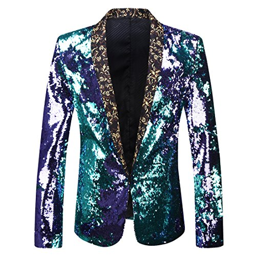PYJTRL Men Stylish Two Color Conversion Shiny Sequins Blazer Suit Jacket (Blue + Purple, M/40R)