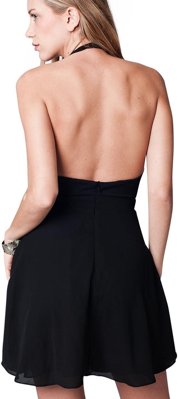 Q2 Femme Robe Croisee Noir Sur Le Devant Et Dos Nu S Noir Amazon Fr Vetements Et Accessoires