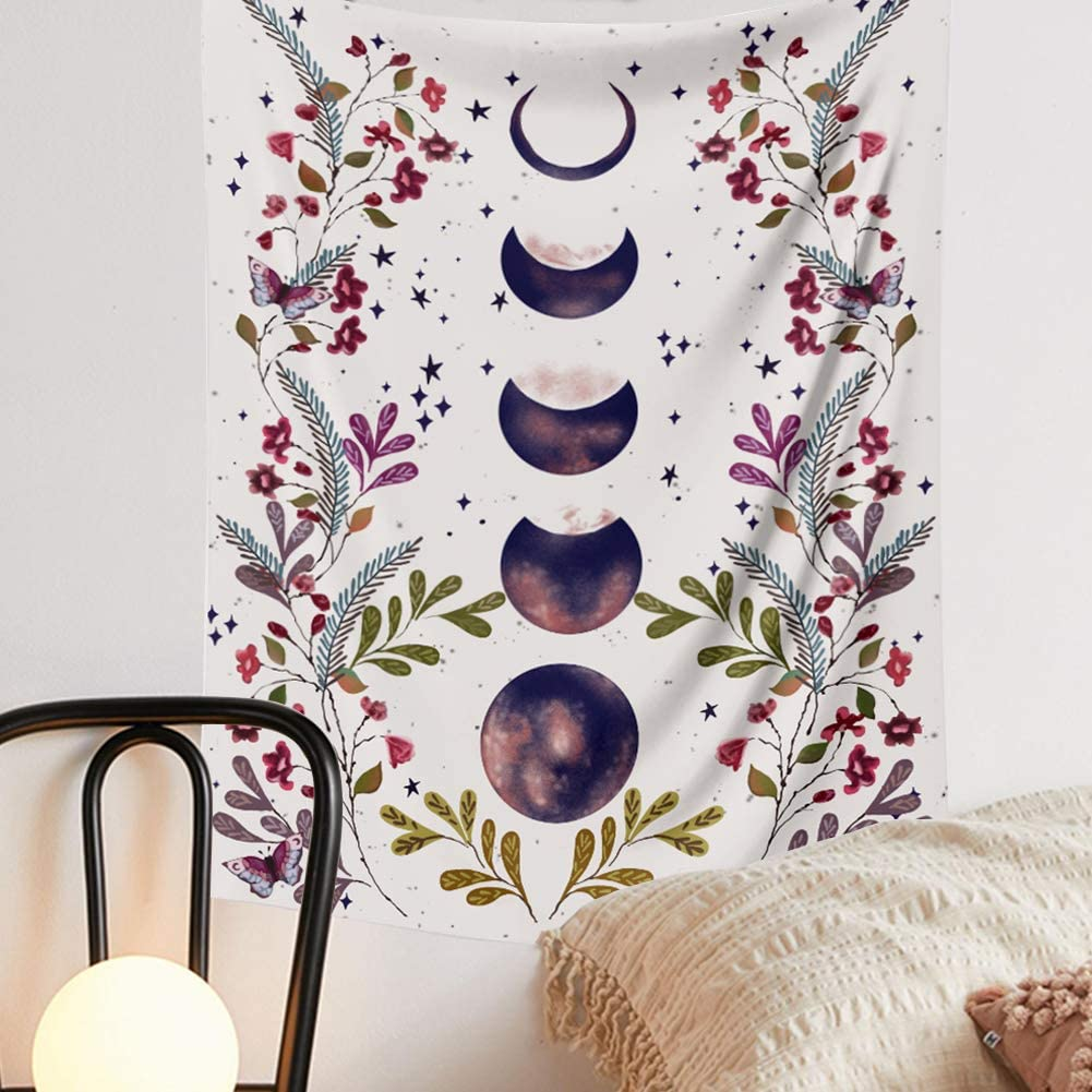 Moon Phase Tapestry Wall Hanging - Moonlit Black Tapestry with Vines and Flowers Wall Decor Floral Blanket Starry Sky Home Decor