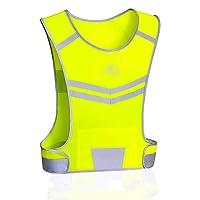 GoxRunx Reflective Running Vest Gear, Light & Comfortable Cycling Motorcycle Reflective Vest,Large Zippered Inside Pocket & Adjustable Waist,High Visibility Night Running Safety Vest