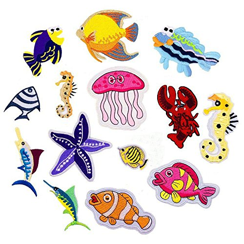 Lobster Patch Fish Dolphin Marine Sea Animals Sea Star Crab Patch Embroidered Cartoon Patch Iron On Motif Applique DIYClothing Badges -