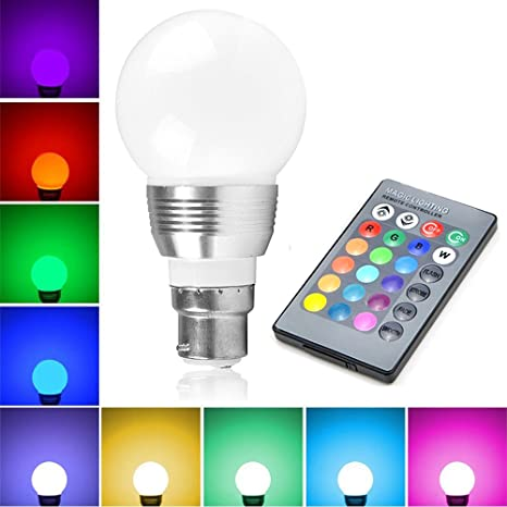 Bombillas Colores Led 5W B22, LifeBee RGBW LED Bombilla 16 Color Cambiantes Lámpara con Mando