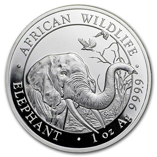 - 2018 DE Somalia African Elephant - 1 oz pure Silver Coin $5 Brilliant Uncirculated CA