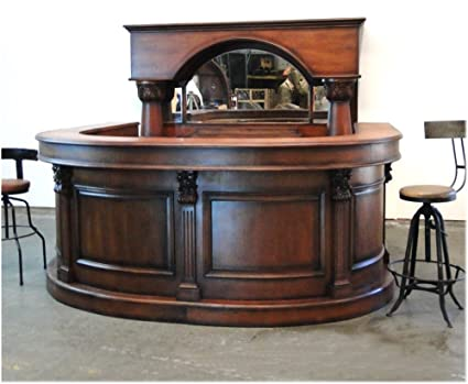 The King's Bay Horseshoe Front and Back Pub Bar Furniture with Wine Rack  Mirror Antique Replica - Amazon.com: The King's Bay Horseshoe Front And Back Pub Bar