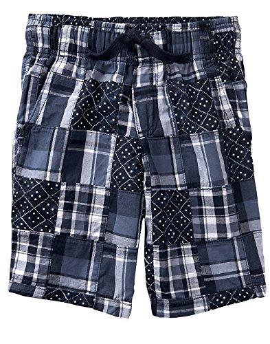 (Gymboree Boys' Little Patchwork Woven Shorts, Gym Navy Plaid 6)