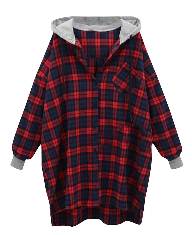 Abetteric Women's Plaid FashionSlim Casual Long-Sleeve Cardigan Red 3XL