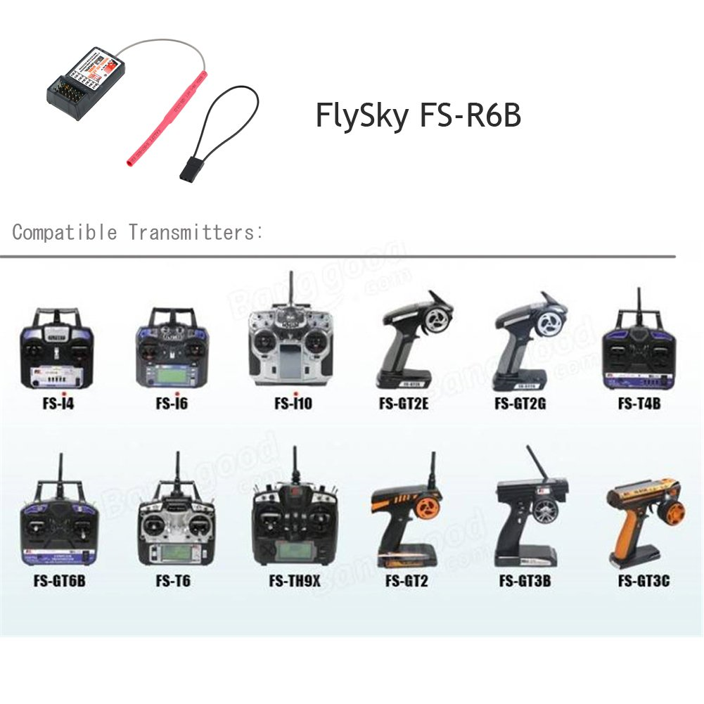 RCmall Flysky FS FS-R6B 2.4G 6 Channel Receiver Radio Model Remote Control Receiver for RC Car FS-TH9X