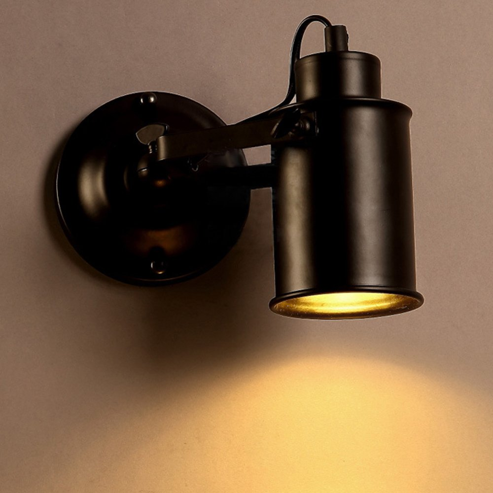 Frideko Vintage Ceiling Spotlight, Retro Industrial Ceiling Spot with 1 Socket for Cafe Bar Dining Room Restaurant (Black)