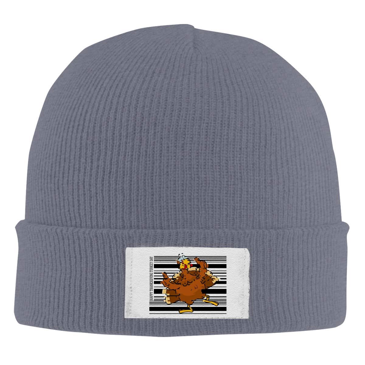Dunpaiaa Skull Caps Happy Thanksgiving Turkey Day Winter Warm Knit Hats Stretchy Cuff Beanie Hat Black