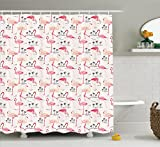 Pink Animal Print Shower Curtain Ambesonne Flamingo Shower Curtain, Flamingos in Vintage Style Illustration Love and Romantic Animals Artwork Print, Fabric Bathroom Decor Set with Hooks, 70 Inches, Beige Pink