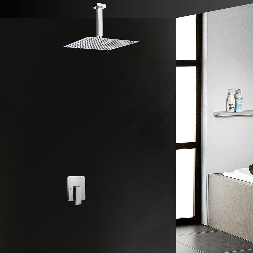 Artbath Shower Trim Kit and Rough-in Shower Valve Body, Ceiling Mounted 12 inch Rain Shower Head Set, Chrome Finished
