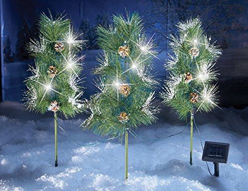 Solar Snow Tip Pinecone Garden Stakes - Set Of 3 (Light Pinecone Path)