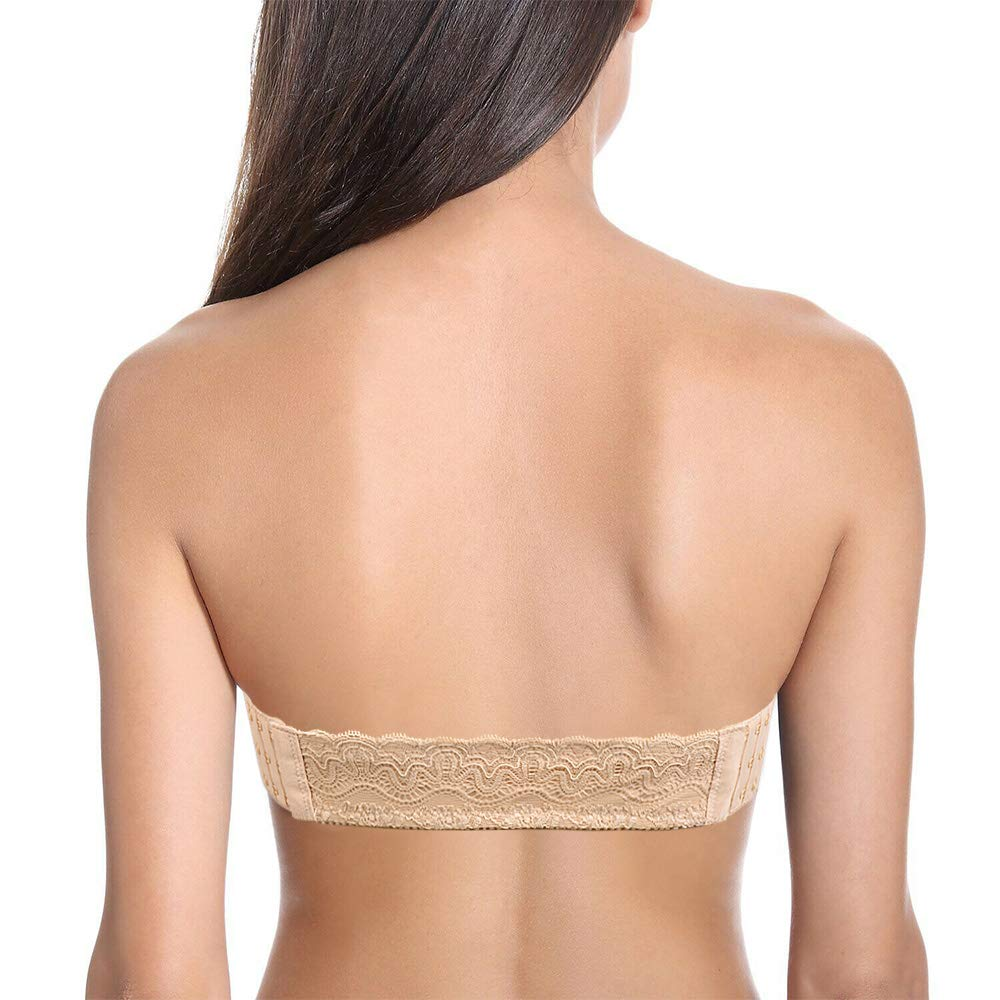 DHX Womens Strapless Convertible Bra Lightly Padded Backless with Halter Clear Straps
