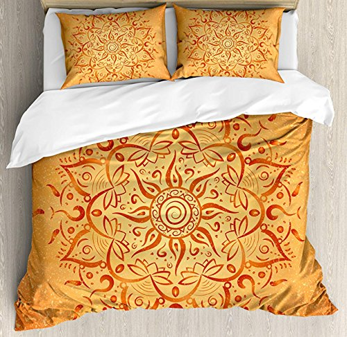 Queen Area Lotus Duvet Cover Set Twin Size, African Tribal Ethnic Sun Pattern with Ombre Effect Mandala Figures Icons Culture Theme Print,4 Piece Bedding Set with 2 Pillow Shams, - Quilt Lotus Pattern