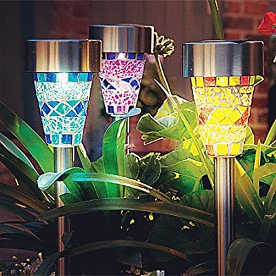 3Pack Mosaic Solar Lights Outdoor Sogrand 3 Color Mosaic Lens Solar Garden Lights,Solar Pathway Lights Solar Walkway Lights Solar Path Lights Solar landscape lights