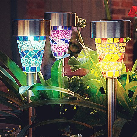Sogrand Solar Garden Lights Outdoor Decorations Mosaic Home Decor Stakes  Yard Decorative Stake Light Deal Of
