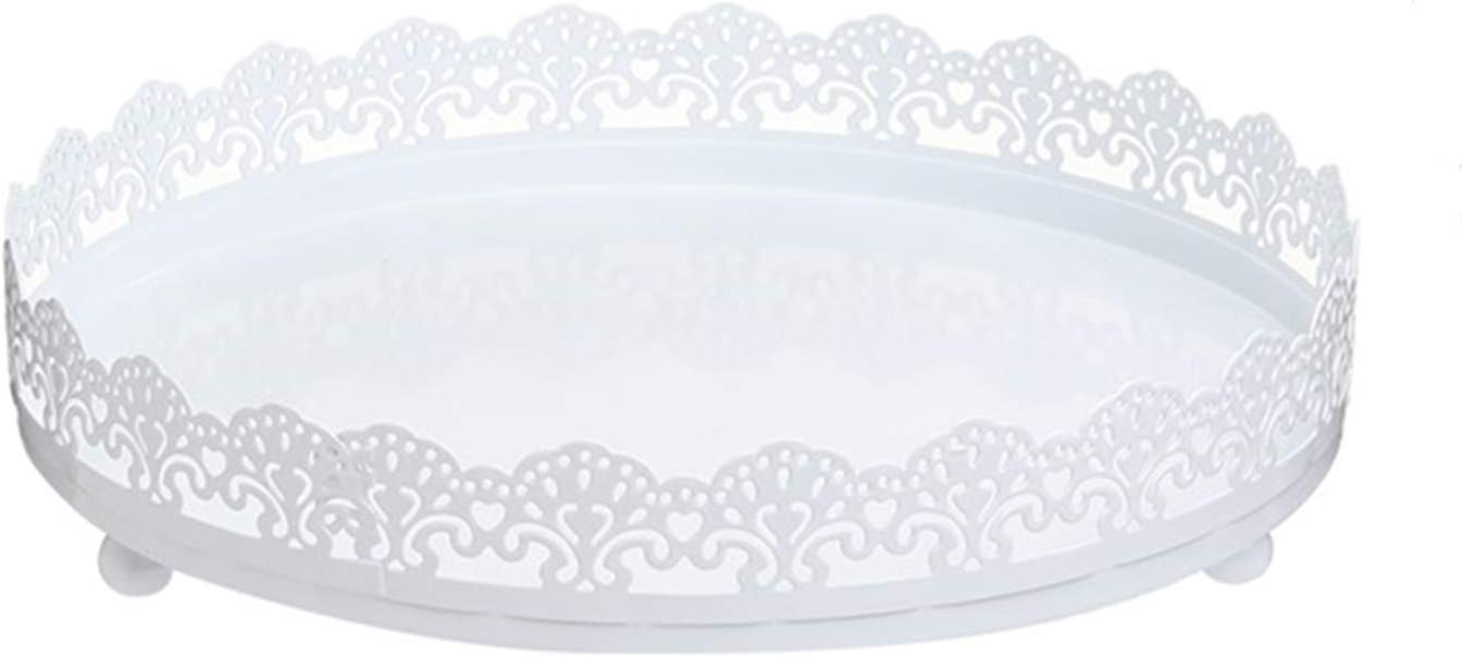 LIFESTIVAL Cupcake Stand White Metal Party Round Dessert Display Plate Decor Serving Platter