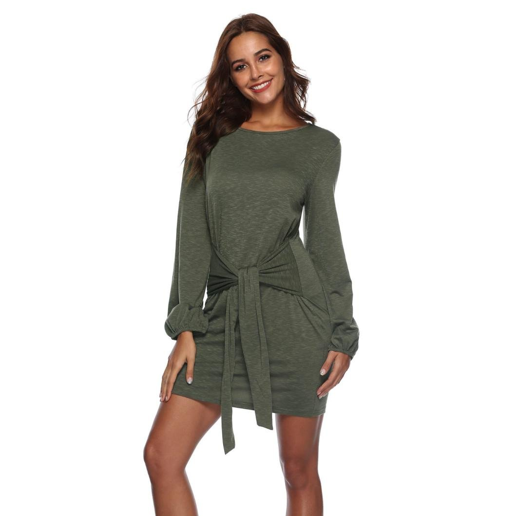 Spbamboo Women Long Sleeve Bandage Solid Above Knee Mini Dress Loose Party Dress