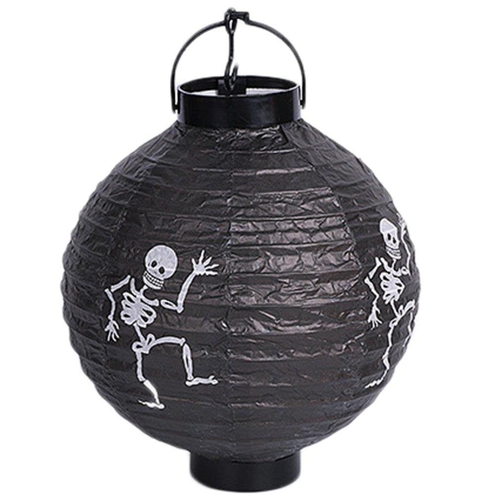 LAAT 1PC Creative Halloween Hanging Lanterns Fashion Paper Lanterns Light Lamp for Halloween Party Decoration (Black)