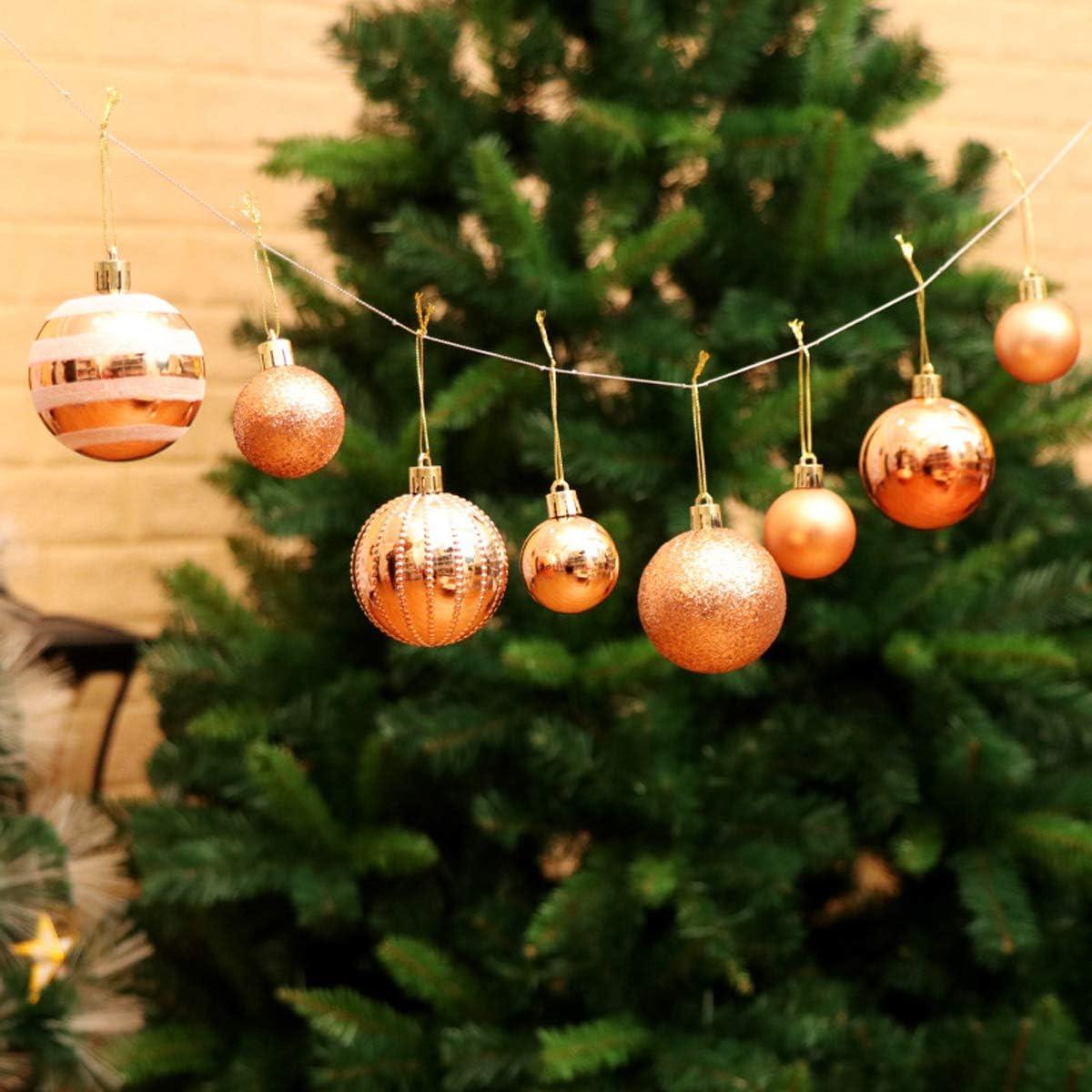 Partido 24Pcs 6cm Bolas de navidad Bola /árbol de navidad Ornamento Decoraciones colgantes de Navidad Centropieces Inastillable Baubles con ganchos para el /árbol de Navidad Blue Vacaciones de Navidad