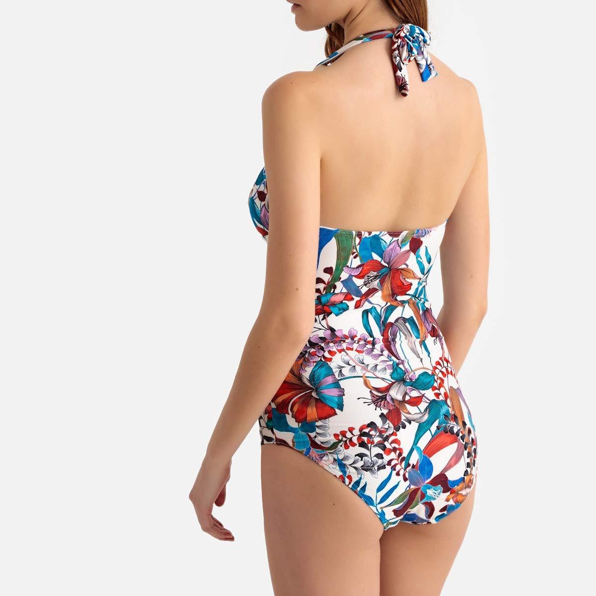 La Redoute Collections Womens Floral Print Halterneck Swimsuit