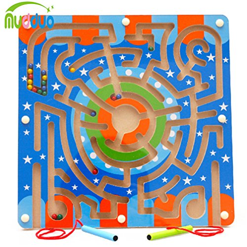 FunnyTown Wooden Circular Track Bead Maze Board with Magnetic Wands