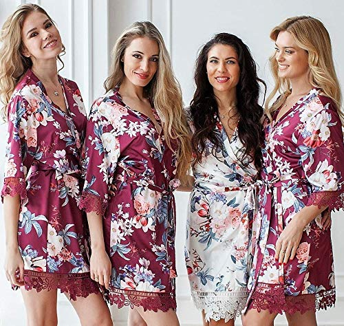 Floral Bridesmaid Robes, Bridesmaid Gifts, Silk Bridesmaid Robes Set, Wedding Robe, Bridal Party Gift, Bridesmaid Robe, Lace Trim Satin Robe, Bridal Party Robes, Kimono, Lace Satin Robes