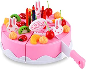 BigNoseDeer Play Birthday Cake Children's Day Gift Play Food Toy Set DIY Cutting Pretend Play Birthday Party Cake with Candles for Children Kids Classic Toy 37pcs(New Outer Package)