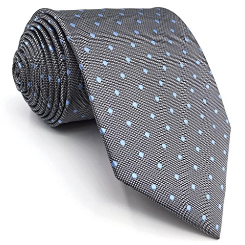 Shlax&Wing New Design Dots Neckties For Men Grey Blue Silk Mens Tie Business - Classic Grey Blue