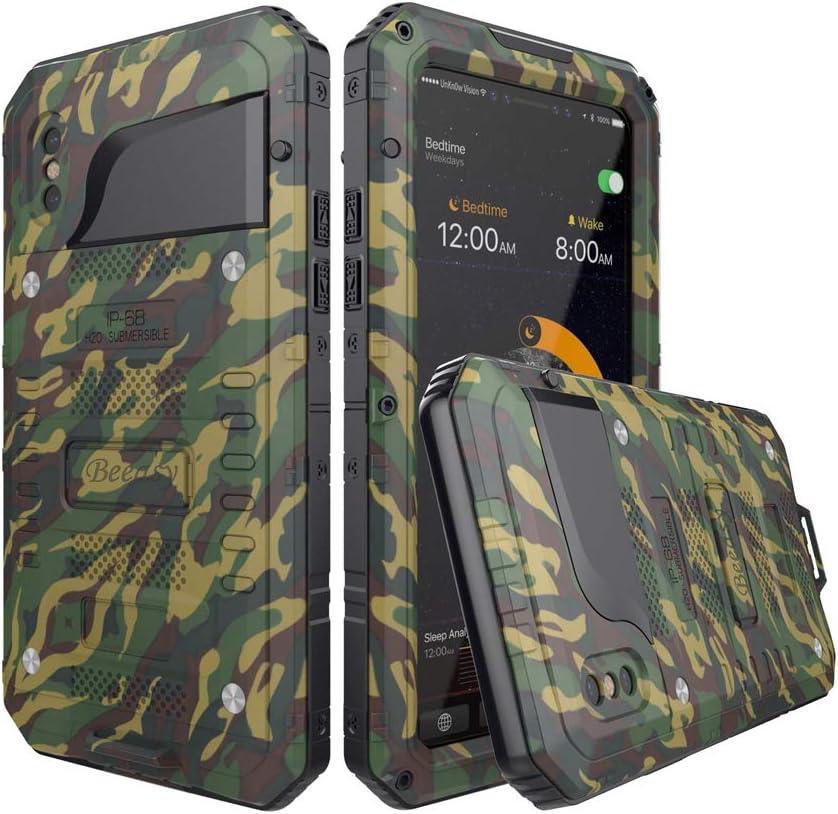 Beeasy Funda Antigolpes iPhone X, [Impermeable] Carcasa Resistente Waterproof Reforzada Metálica Grado Militar con Protector de Pantalla Incorporada a Prueba de Polvos Case para iPhone 10,Camuflaje: Amazon.es: Electrónica