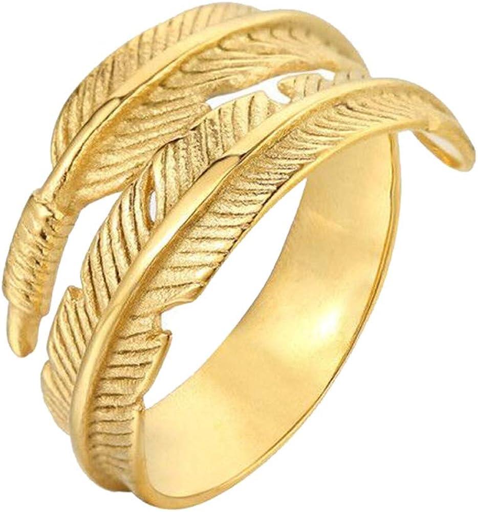 Oakky Unisex Men's Women's 316l Stainless Steel Ring Vintage Feather Wrap Black Silver