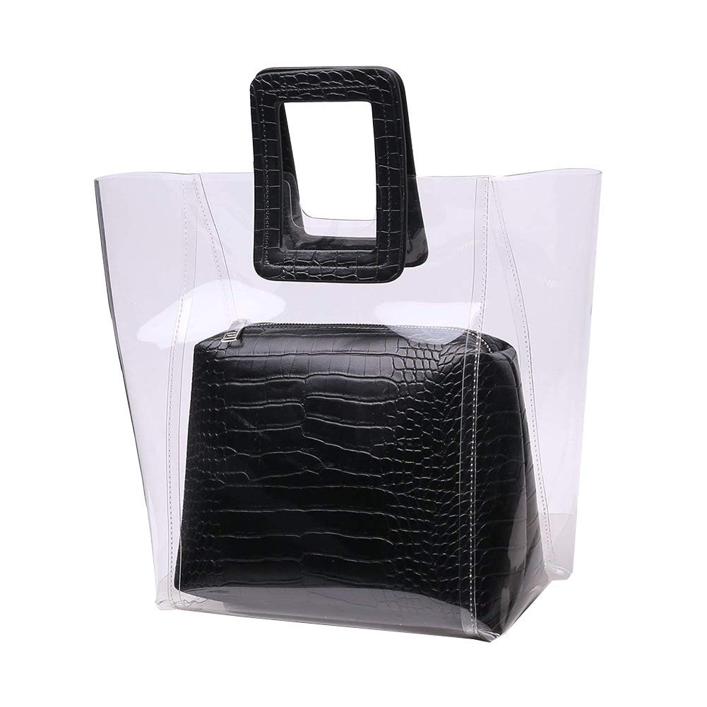 Clear Tote Bag for Women Handbag with Interior Pocket Stadium Approved Handle Summer Beach Bags (Black)