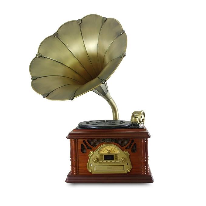 Amazon.com: Pyle-Home - Tocadiscos de trompeta con radio AM ...