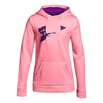 Under Armour Kids Girl s Armour Fleece Big Logo Hoodie (Big Kids) Pop Pink  d10dfe934bd0
