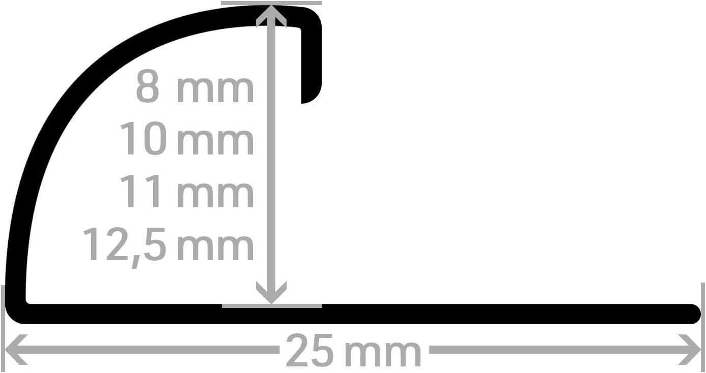 11 mm I geb/ürstet HORI/® Fliesenprofil I Rundkantenprofil aus Edelstahl St/ück L/änge /á 2,50 m I H/öhe