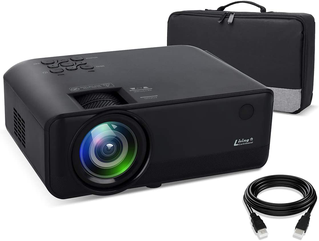 Living Enrichment Mini Projector, 1080P HD Supported Portable Video Projector, 7000 Lumen 50,000 Hours Led Lamp, 200'' Projection Display, Compatible with HDMI VGA USB DVD for Home Entertainment