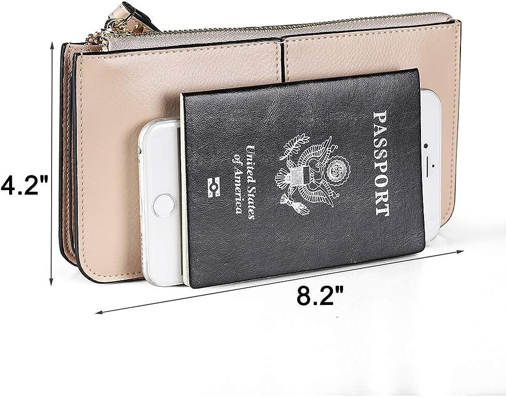 Wristlet Bag,Genuine leather Wristlet bags for women,Ladies Wristlet Purses with Wrist Strap /& Zip Closure /& Detachable Tassel for Women Fit iPhone 8 Plus or Less 6.5 Inches