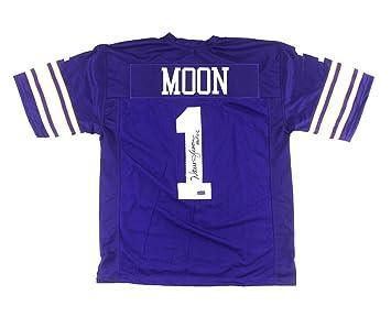 ... Warren Moon Signed Minnesota Vikings Throwback Purple Custom Jersey  with quotHOF 06quot Inscription ... 8709c233e