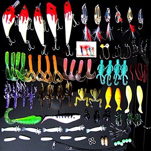 Cheap Fishing Lures Crankbaits Hooks Fishing Tackle Lure 100 Pieces Set Bass Fishing Tackle Set Lure Worm Universal Kit Ideal for Sea Bass Fishing and Chinning Sporting Lure Fishing