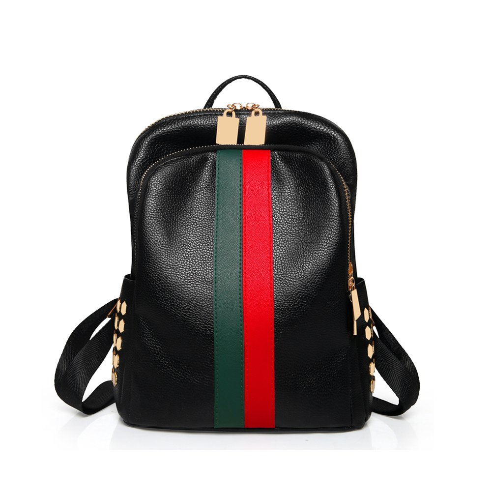 939aa2c324a8 Mynos Backpack Bag Women Mini Rucksack Travel Bookbag For Girls Backpack  Leather Bag Ladies Purse And Handbags WOMEN-004-Red and green