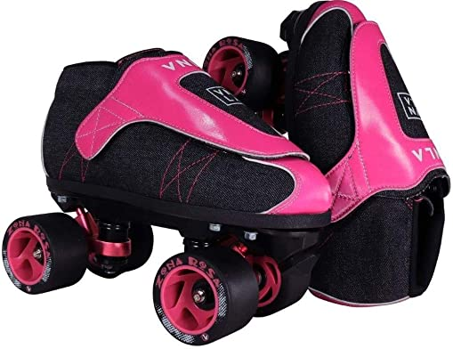 VNLA Zona Rosa Jam Skate Mens Womens Skates – Roller Skates for Women Men – Adjustable Roller Skate Rollerskates – Outdoor Indoor Adult Skate – Kid Kids Skates Denim Pink