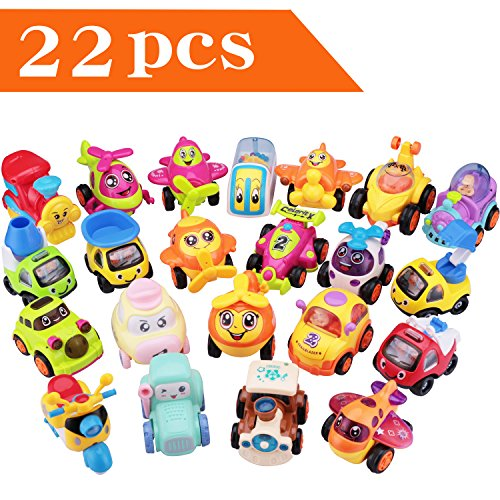 Play Vehicles, Friction Powered Pull Back Toys, Construction Crane Trucks, Trains, Aeroplanes, Racing Car, Scooter, Gift for Age 2, 3, 4, 5, 6 Year Olds Kids Toddler, Boy, Girls(Color N Pattern Vary) by iPlay, iLearn