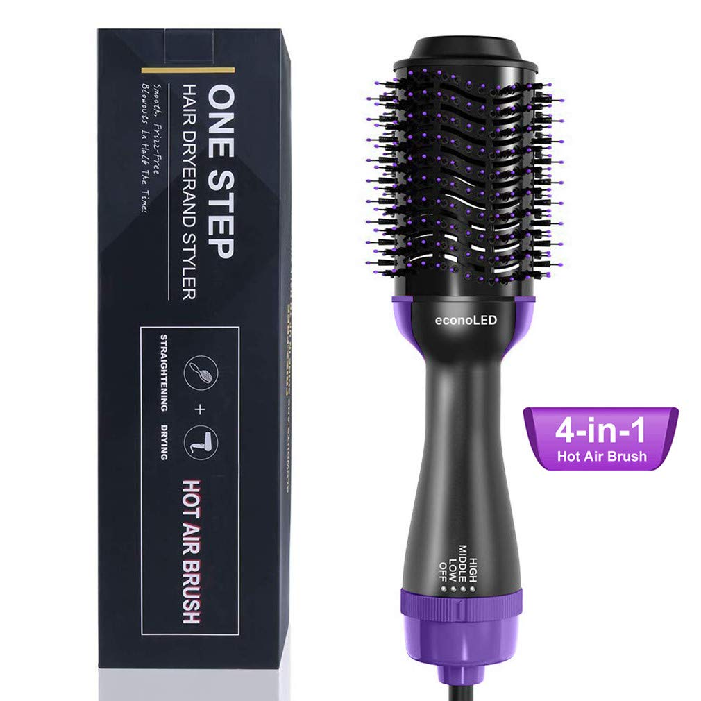 Hot Air Brush, econoLED Hair Dryer Brush, Hair Straightener Brush, One Step Hair Dryer 4-IN-1 Hot Air Spin Brush for Straightening,Curling,Salon Negative Ionic Electric Blow Dryer Straightener Curling