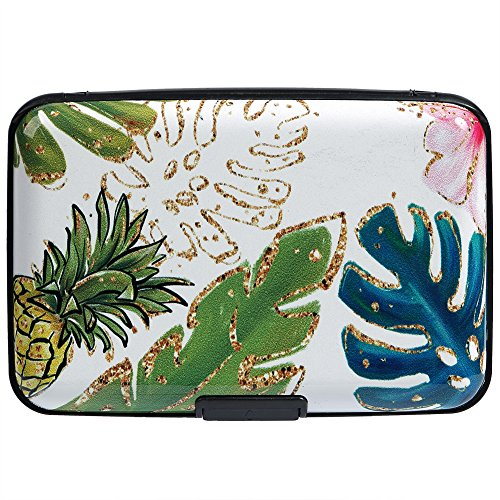 Leaves Protector Case - Vichline Aluminum RFID Blocking Slim Metal Wallet Credit Card Holder for Men Women (Pineapples and Tropical Leaves)