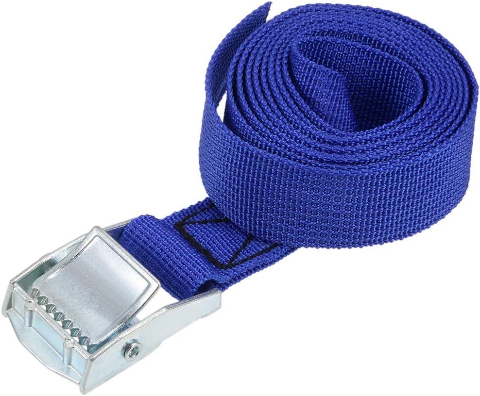sourcing map Correa de amarre de carga de atadura con hebilla de leva de 250Kg de carga de trabajo azul 0.5Mx25 mm