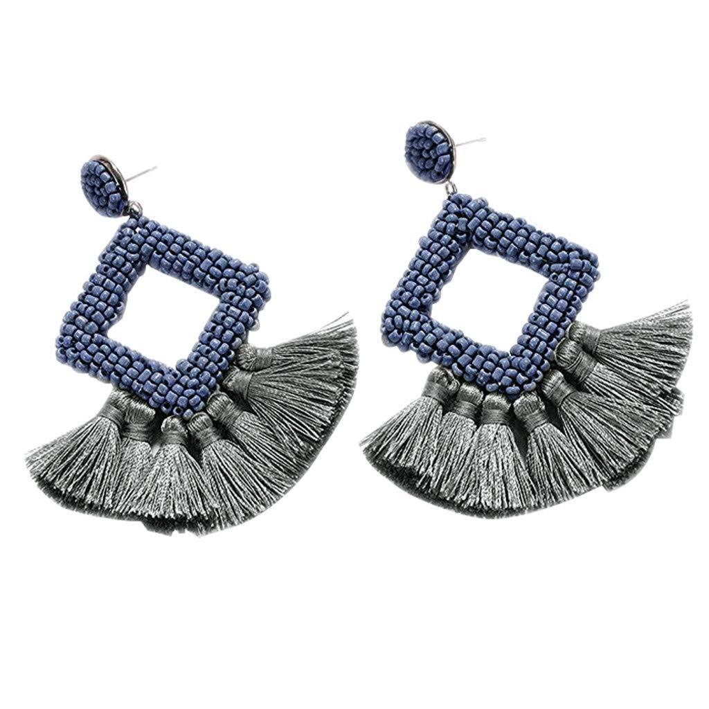 Tassel Earrings for Women Girls Bohemian Bead Stud Earrings Statement Earrings Daily Wear Fashion Jewelry (Light Blue)